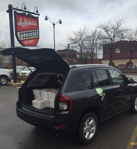 Zipcar filled with Lou Malnati's Deep Dish Pizza