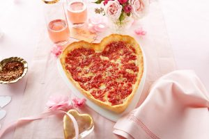 Heart shaped pizzas from Lou Malnati's