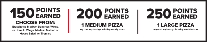 Lou Malnati's Rewards points breakdown