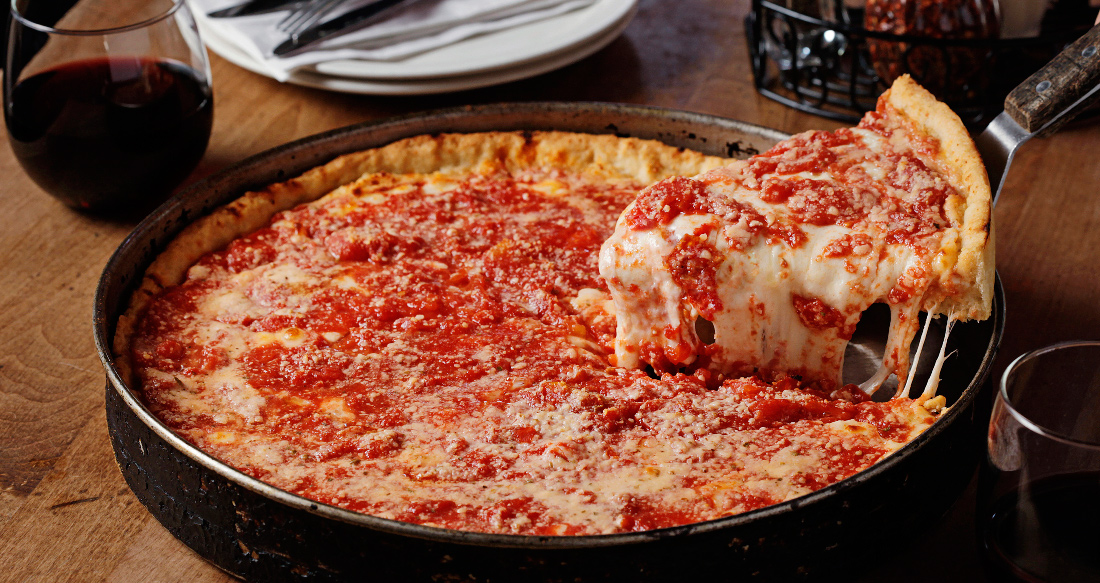 Delicious Chicago-style Deep Dish Pizza